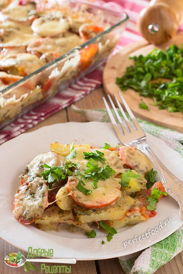 Картофельная запеканка с сыром, помидорами и чесноком - рецепт