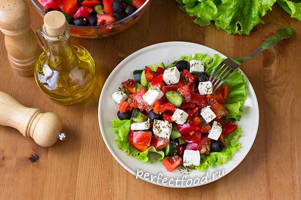 Греческий салат - рецепт с фото