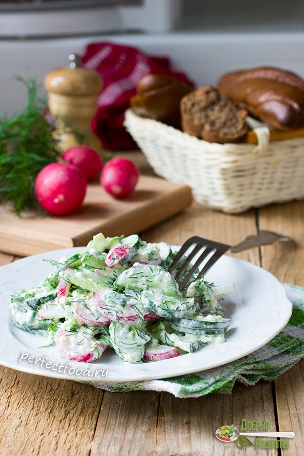 Как приготовить салат с редиской и огурцом