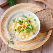 Суп с кукурузой и зелёным горошком — рецепт с фото и видео