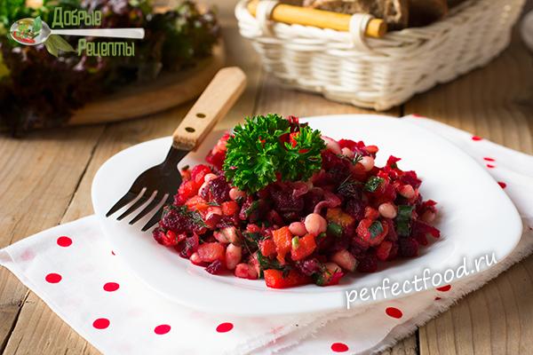 Рецепт летнего винегрета с фасолью и огурцами