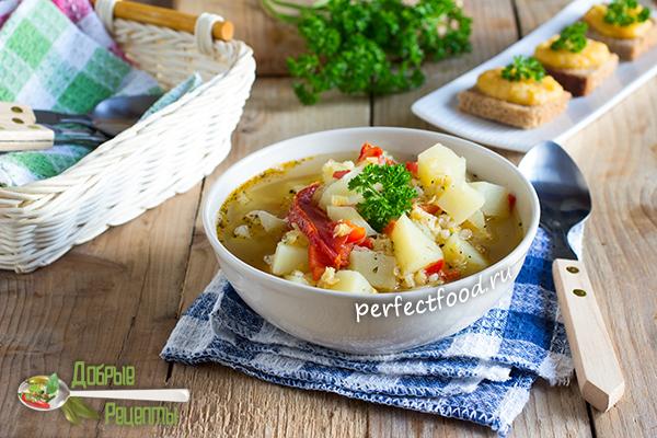 Суп с красной чечевицей и булгуром