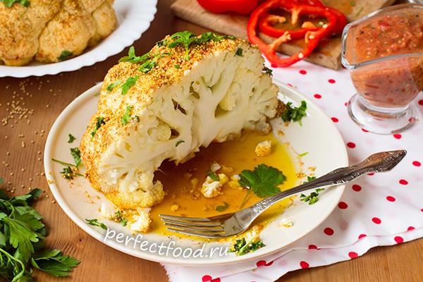 Приготовление запечённой цветной капусты в духовке
