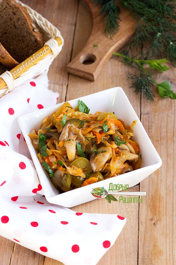 Постная грибная солянка с капустой - рецепт