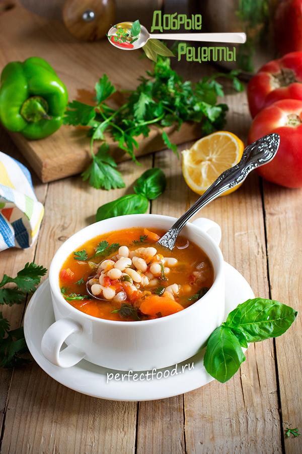 Томатный суп с фасолью по-гречески - фасолада