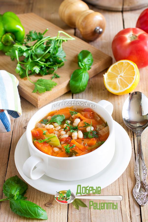 Томатный суп с фасолью - рецепт