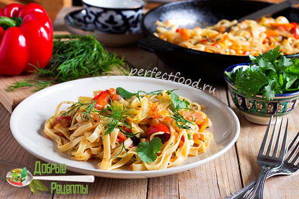 Лапша с овощами - лагман - рецепт