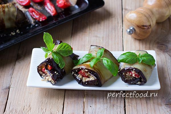 Рулетики из баклажанов с орехами и помидорами - видео-рецепт