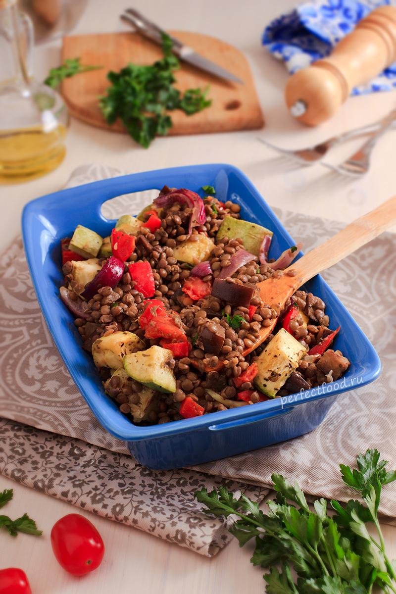 Чечевица с овощами в духовке